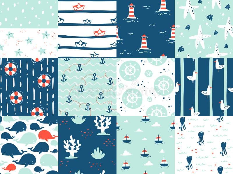 Sea marine nautical ocean symbols seamless patterns elements. Ocean sea blue texture wallpaper marine seamless patterns. Water nautical element abstract marine stock illustration