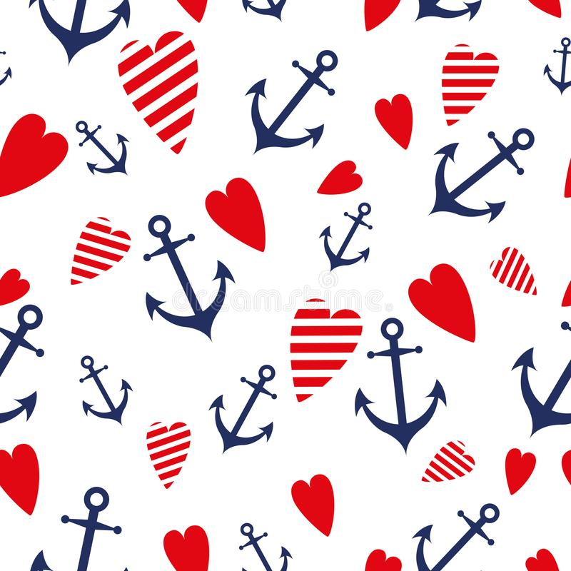 Sea marine vector seamless patterns anchor heart blue red sea trip backgrounds. vector illustration