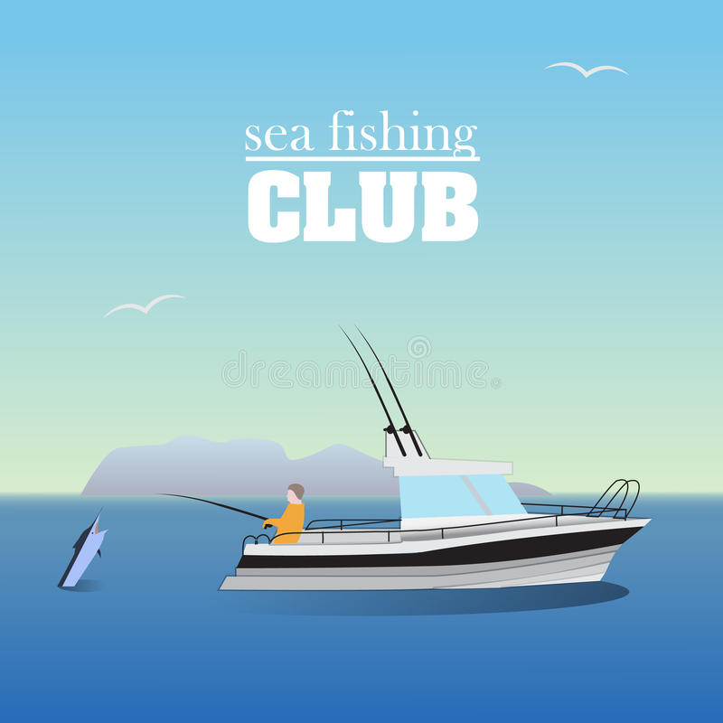 Sea marlin fishing on the boat. Marine landscape with fisher vector illustration
