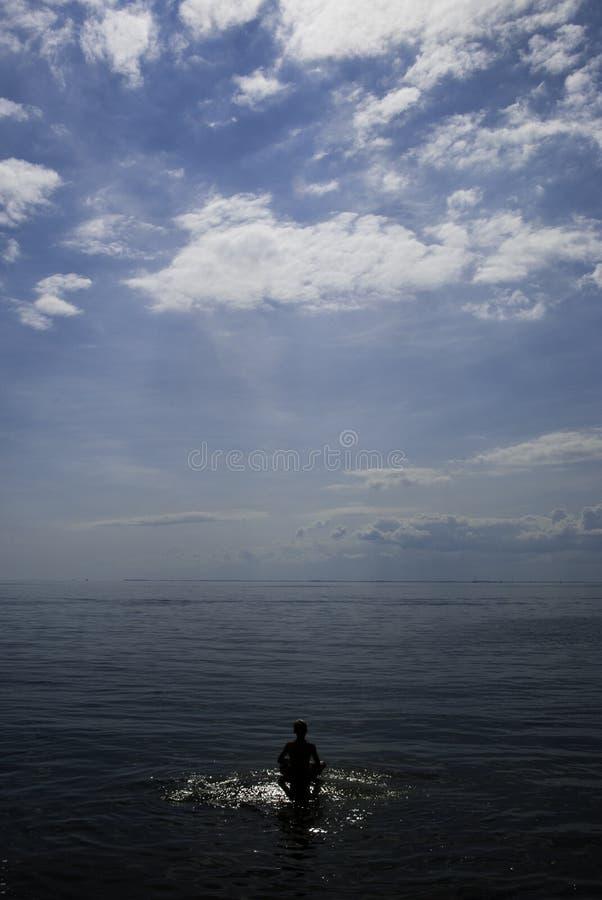 Sea meditation stock photo
