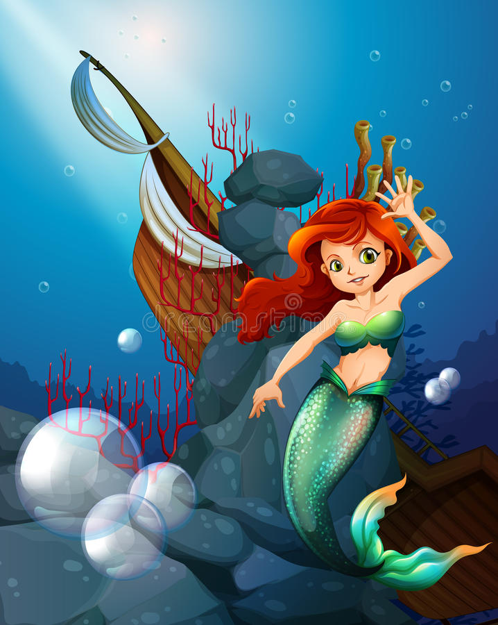 A sea with a mermaid near the wrecked boat royalty free illustration
