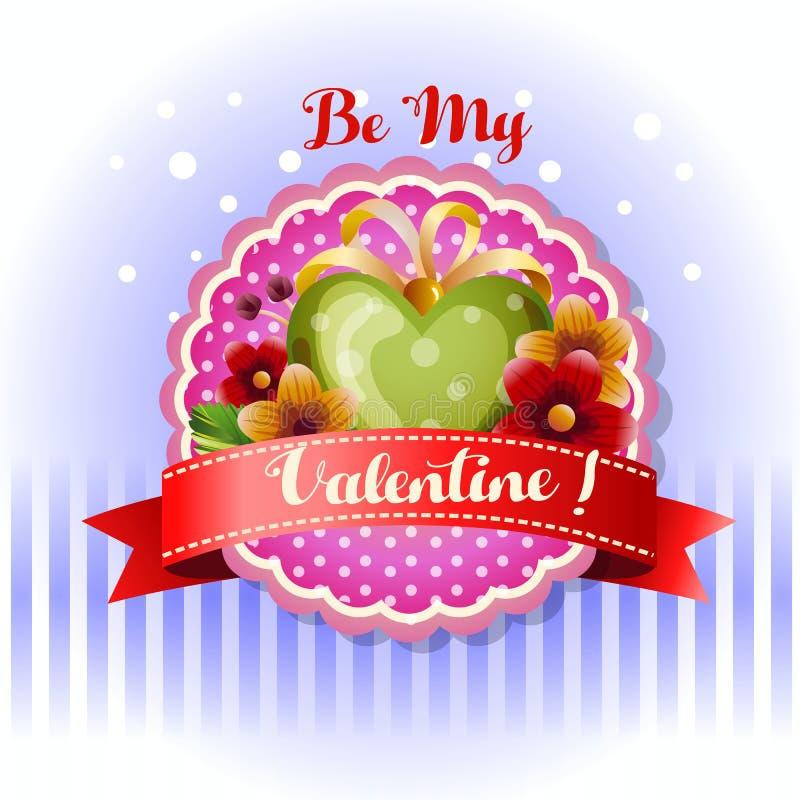 Sea mi corazón verde rojo de la tarjeta de la tarjeta del día de San Valentín ilustración del vector