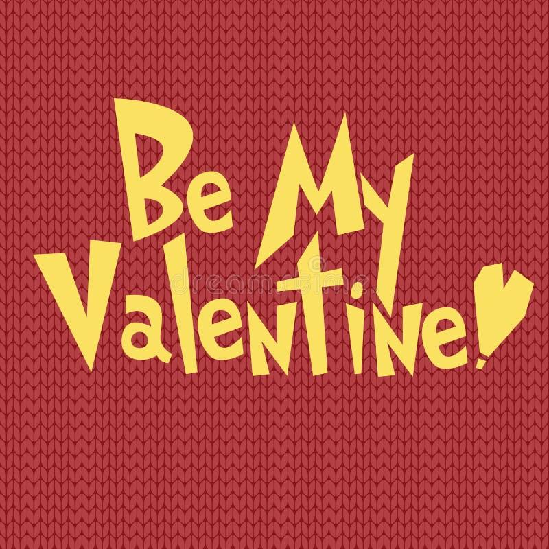 Sea mi plantilla del diseño de la tarjeta de felicitación de la tarjeta del día de San Valentín en el papel pintado del fondo del ilustración del vector
