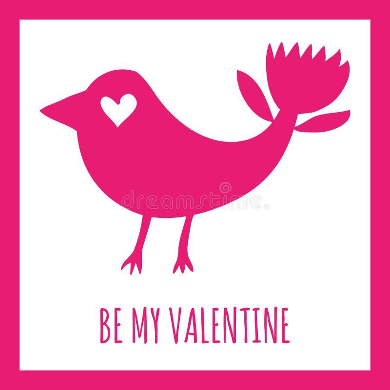 Sea mi tarjeta de felicitación de la tarjeta del día de San Valentín Silueta fantástica del rosa del pájaro en un fondo blanco ilustración del vector