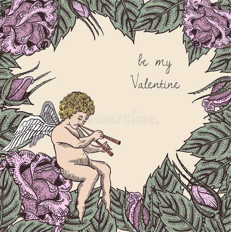 Sea mi tarjeta de la tarjeta del día de San Valentín con el cupido y las rosas ilustración del vector
