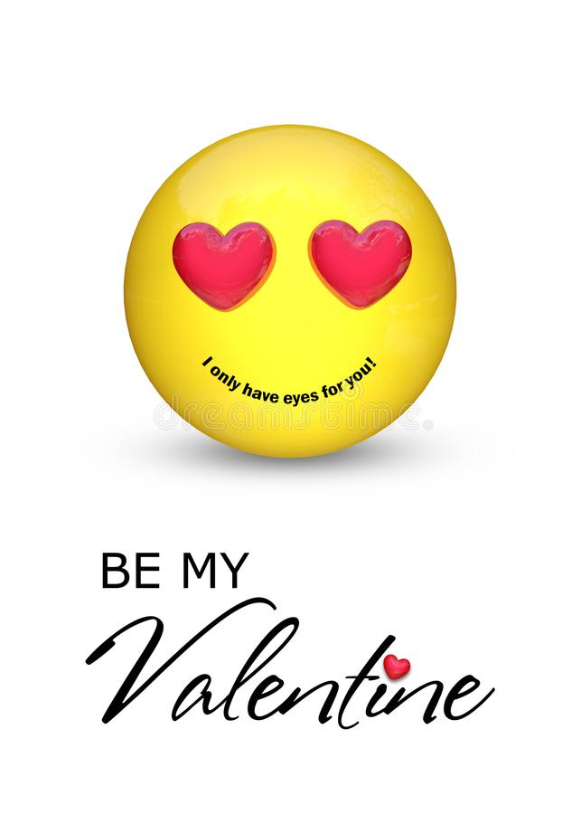 Sea mi Valentine Emoji con los ojos del corazón ilustración del vector