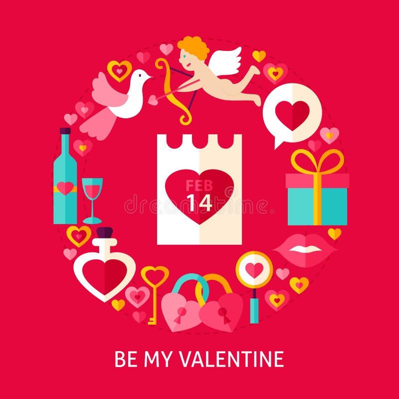 Sea mi Valentine Postcard ilustración del vector