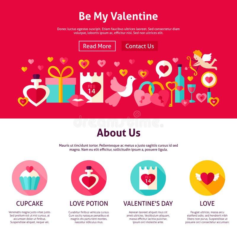 Sea mi Valentine Web Design stock de ilustración