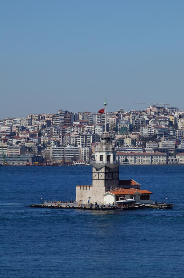 Sea mike in the middle of the Bosphorus Strait. In Istanbul stock photography
