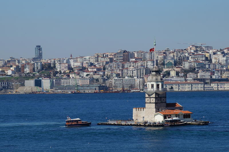 Sea mike in the middle of the Bosphorus Strait. In Istanbul stock photos