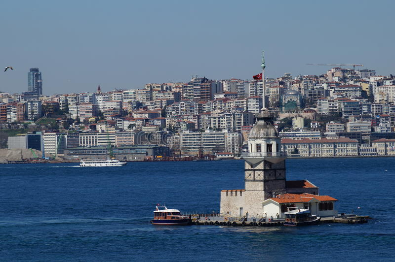 Sea mike in the middle of the Bosphorus Strait. In Istanbul royalty free stock photos
