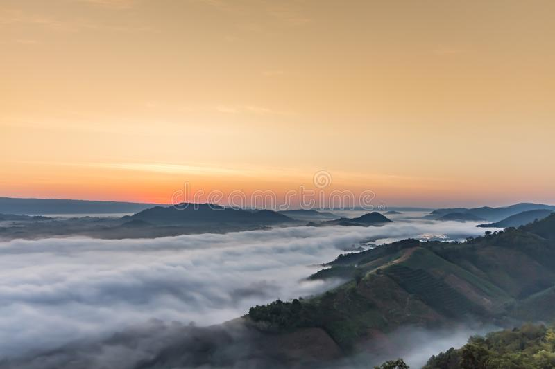 Sea of mist at PHU PHA DUG mountian Thailand. On the morning stock images