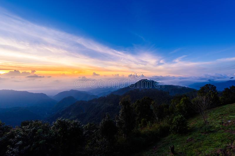 Mon Sone View Point, Doi Pha Hom Pok National Park, Angkhang mountain, chiang mai, Thailand. Sea of mist, Tourists and Campground tents, View from Mon Sone View royalty free stock image