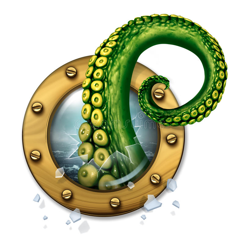 Sea Monster. Concept as a scary green tentacle creature arm breaking through the glass of a ship porthole window as a fantasy concept for travel insurance royalty free illustration
