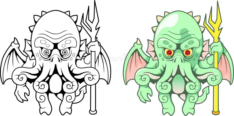 Sea monster Cthulhu, funny illustration vector illustration