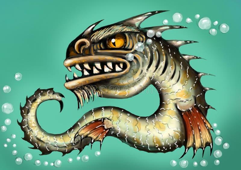 Sea monster water dragon fish mutant. Scary deep demon. Color illustration. Sea monster water dragon fish mutant. Scary deep demon. Color illustrations stock illustration