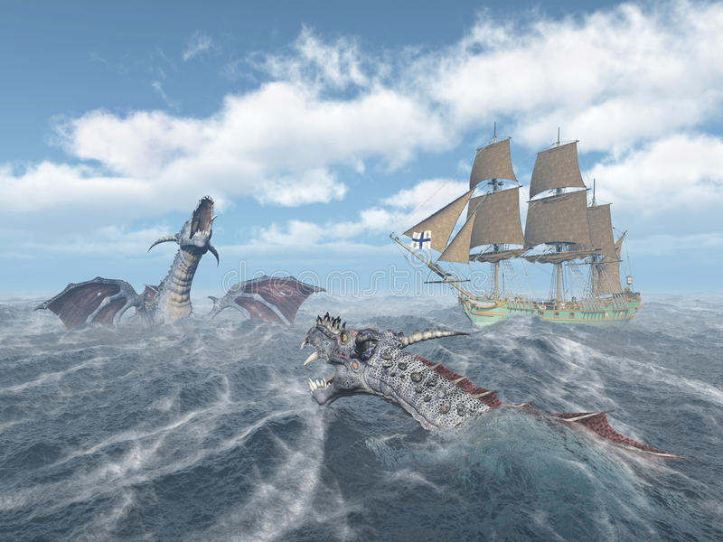 Sea monsters and sailing ship. Computer generated 3D illustration with sea monsters and sailing ship in the stormy ocean vector illustration