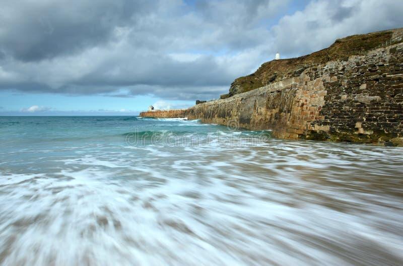 Sea Motion, Portreath Pier, Cornwall UK. Stock Image