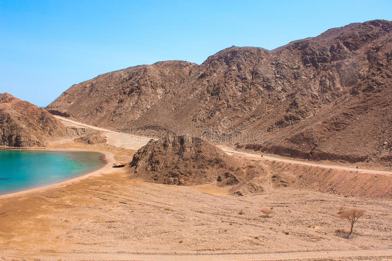Sea & mountain View of the Fjord Bay in Taba, Egypt royalty free stock images