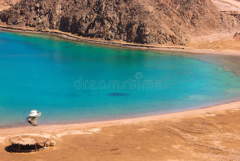 Sea & mountain View of the Fjord Bay in Taba, Egypt royalty free stock image