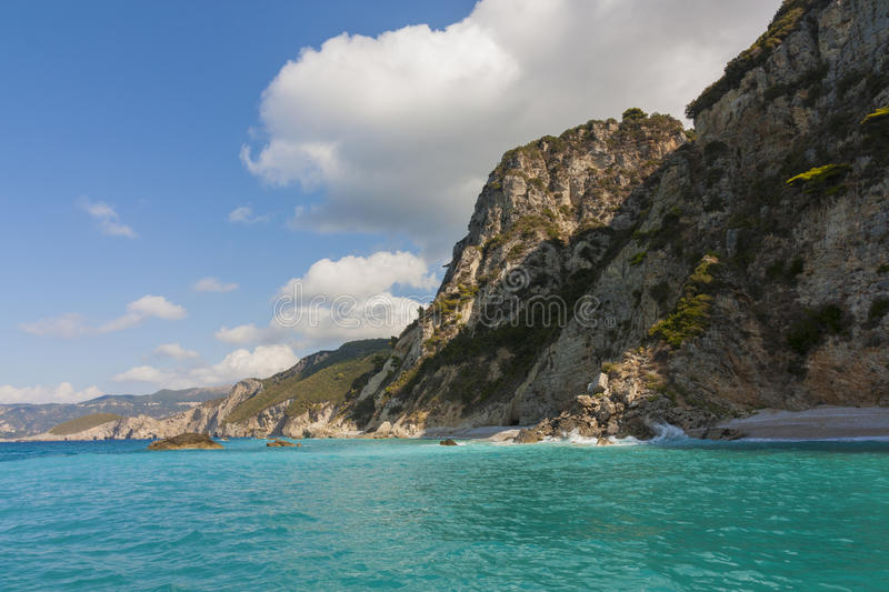 Sea and mountains royalty free stock photo