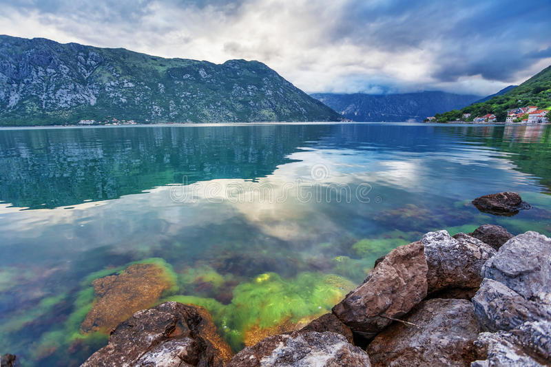 Download Sea And Mountains In Bad Rainy Weather Stock Image - Image of black, green: 25650367
