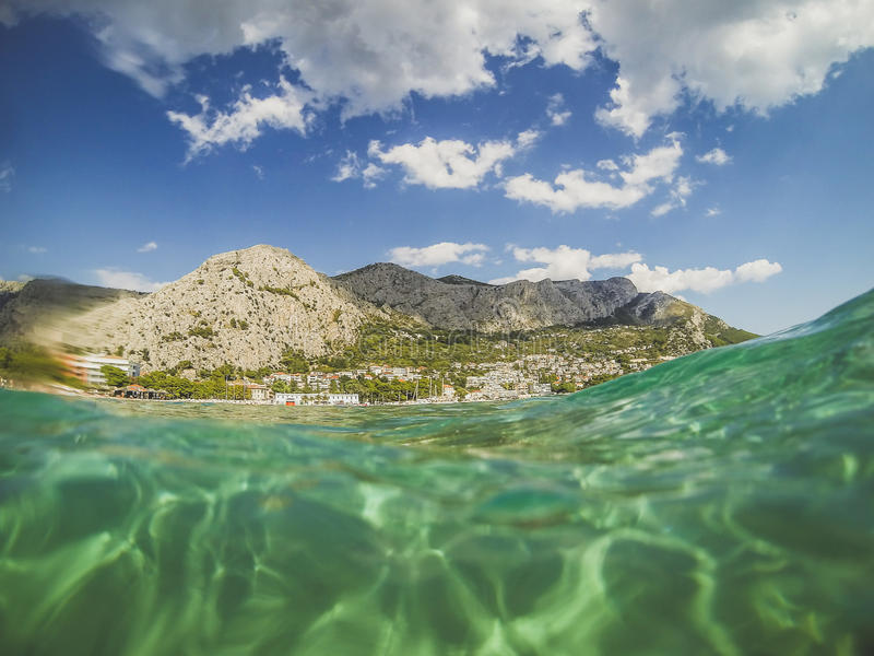 Sea and mountains in Croatia stock images