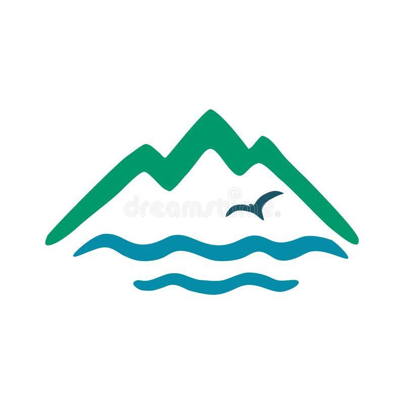 Sea, mountains, gull. Vector color icon, logo for the theme of travel. stock photography