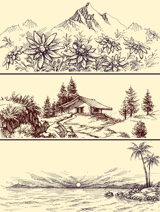 Sea and mountains landscapes set vector illustration