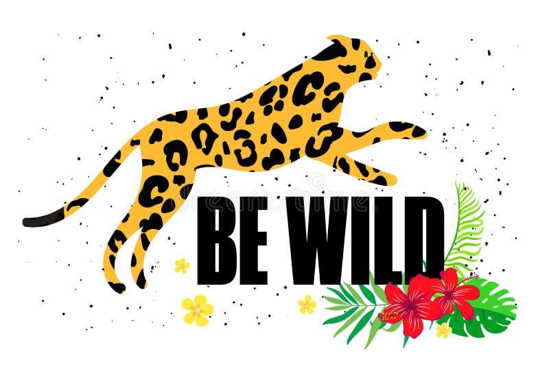 Sea muestra salvaje con una silueta de un leopardo stock de ilustración