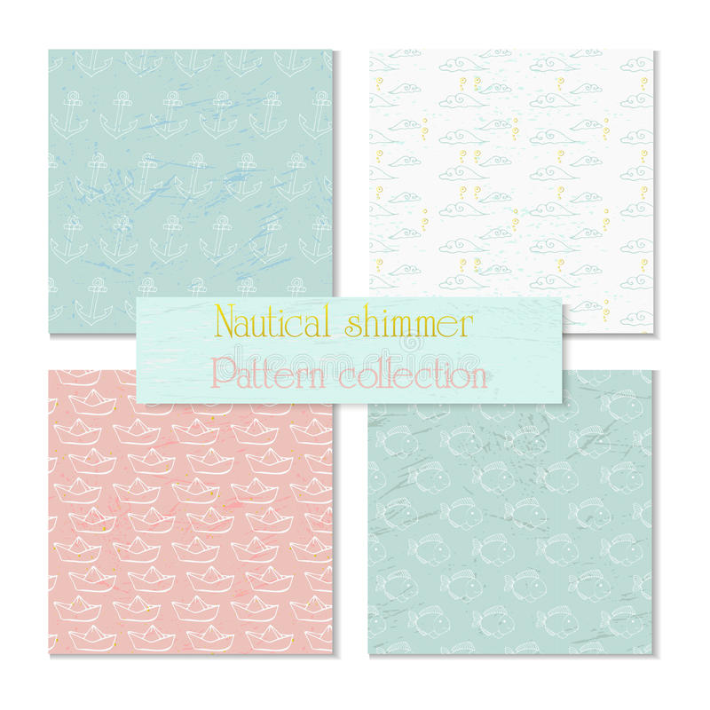 Sea and nautical backgrounds, pattern vector illustration
