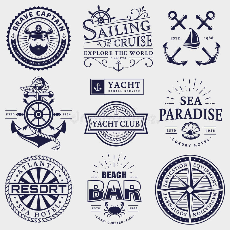 Sea and nautical logos isolated on white background. Set of sea and nautical typography badges. Collection of vector templates for company logos, business royalty free illustration