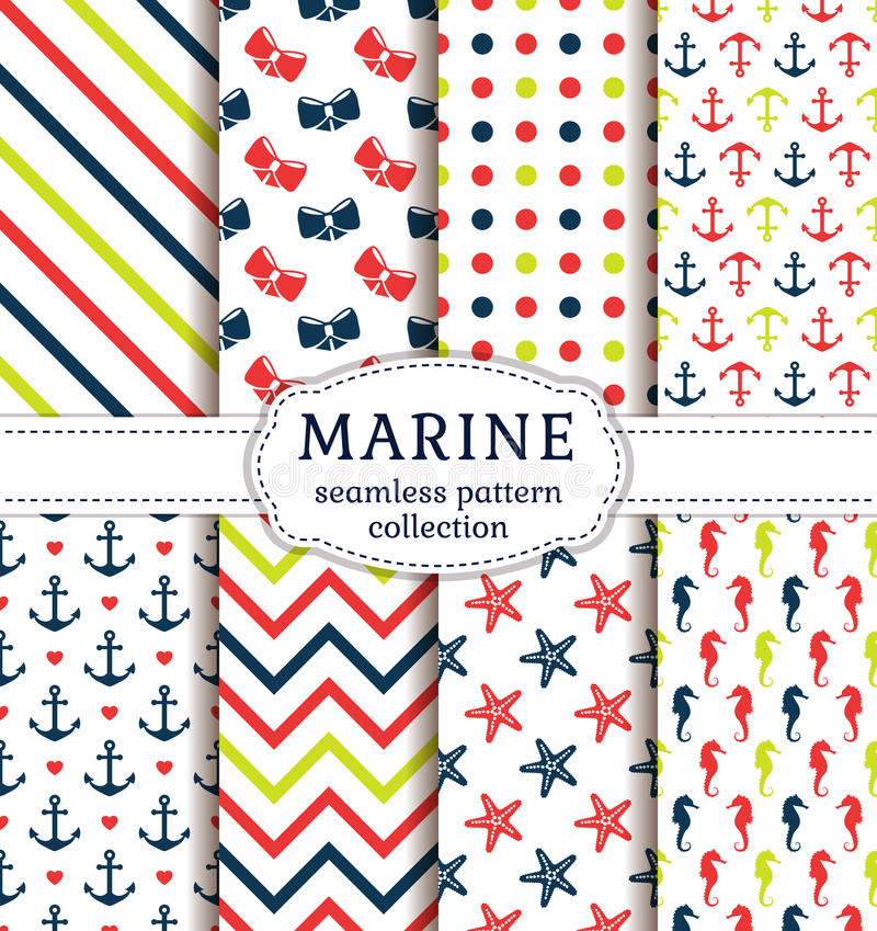 Sea and nautical patterns set. stock illustration