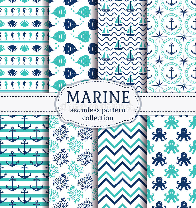 Sea and nautical seamless patterns set. stock illustration