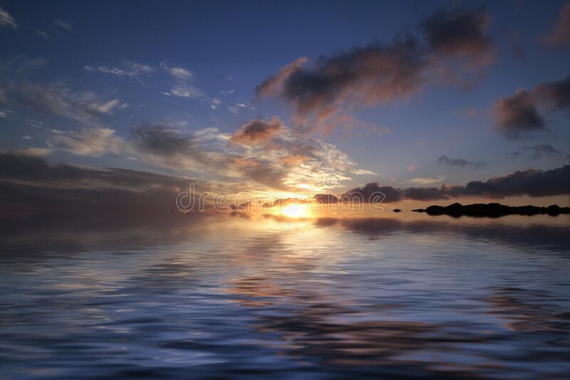 Sea Near Island during Sunset royalty free stock images
