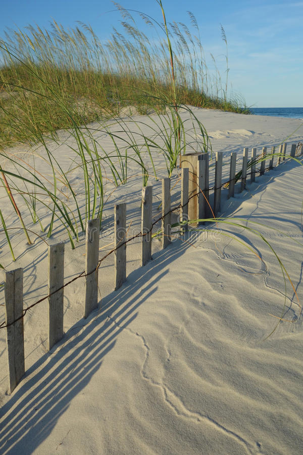 Sea oats grass and buried dune fence at Wrightsville Beach (Wilmington) North Carolina. Sea oats grass and half buried dune fence and pretty patterns on the sand stock photos