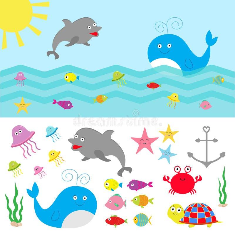 Sea ocean animal fauna set. Fish, whale,dolphin, turtle, star, crab, jellyfish, anchor, seaweed, waves Cute cartoon character coll royalty free illustration