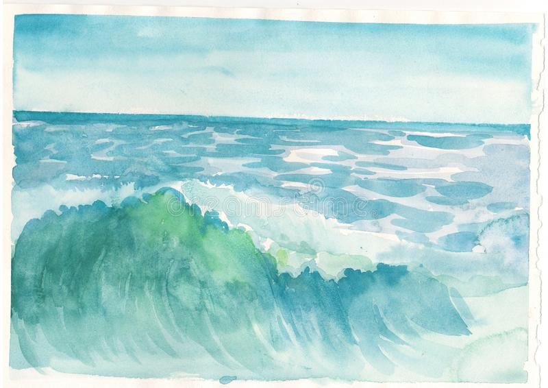 Sea and ocean blue wave landscape illustration background royalty free stock photos