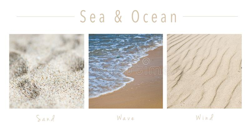 Sea & Ocean - collage with text : Sand, Wave and Wind royalty free stock photo