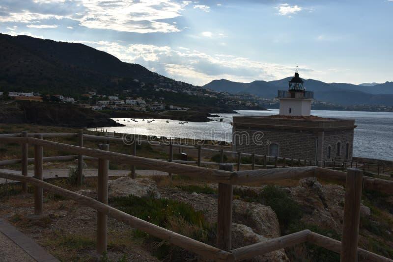 Lookout of lighthouse at El Port de la Selva stock image