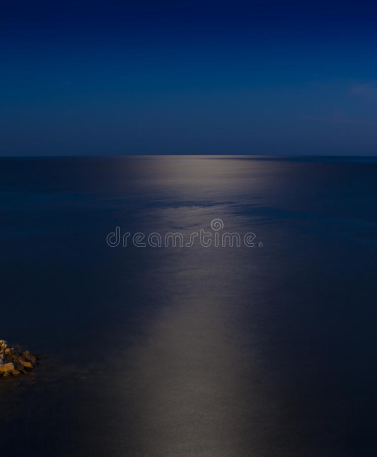 Sea or ocean at night. Under the moon light royalty free stock images