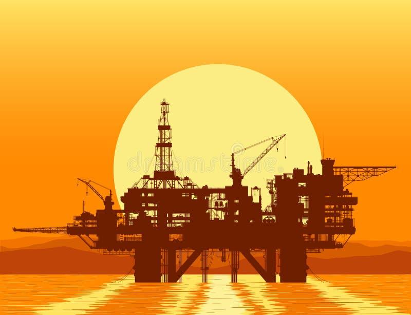 Sea oil rig. Offshore drilling platform. Sea oil rig. Offshore drilling platform in the sea over mountain range. Detail vector illustration royalty free illustration