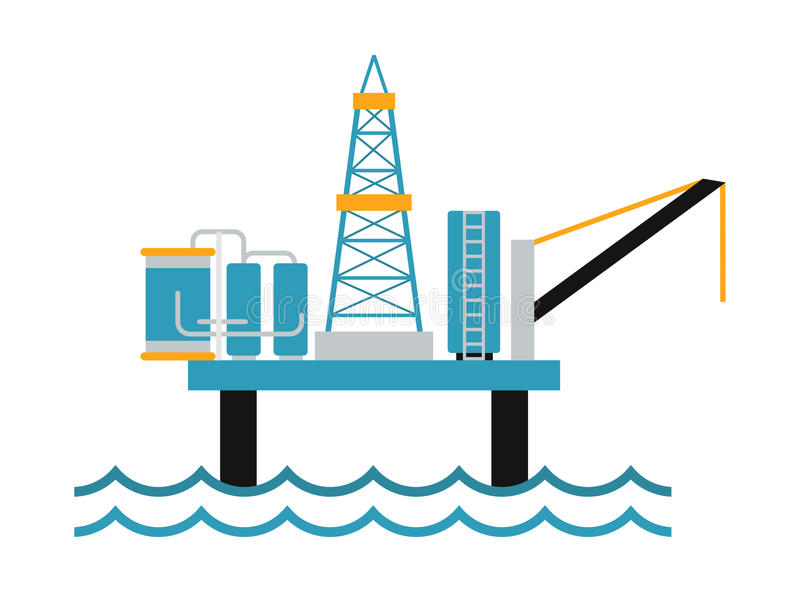 Sea oil rig offshore platform technology flat vector illustration. stock illustration