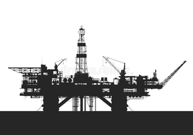 Sea oil rig. Oil drilling platform. Silhouette. Detail vector illustration royalty free illustration