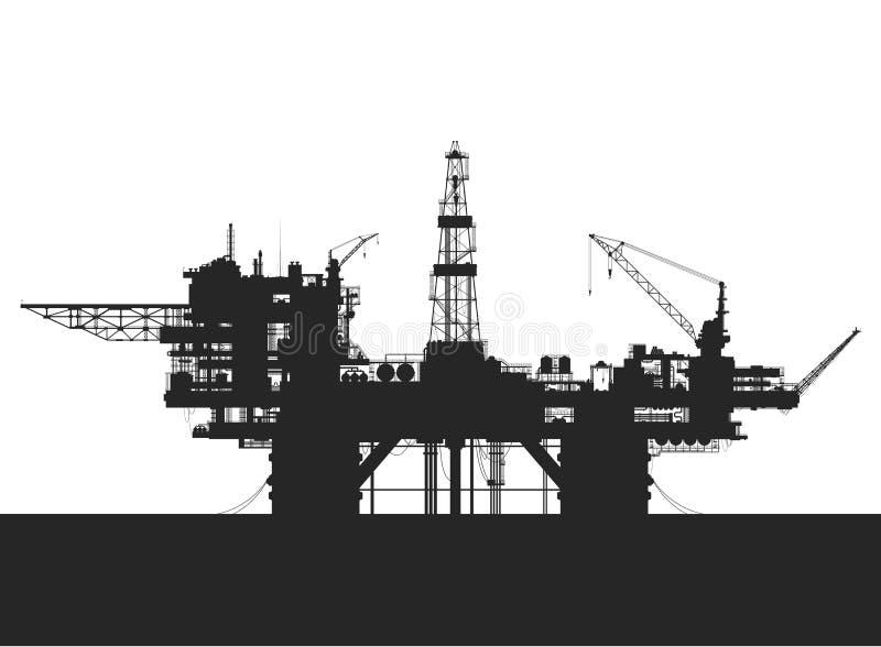 Sea oil rig. Oil platform in the sea. Detailed vector illustration royalty free illustration