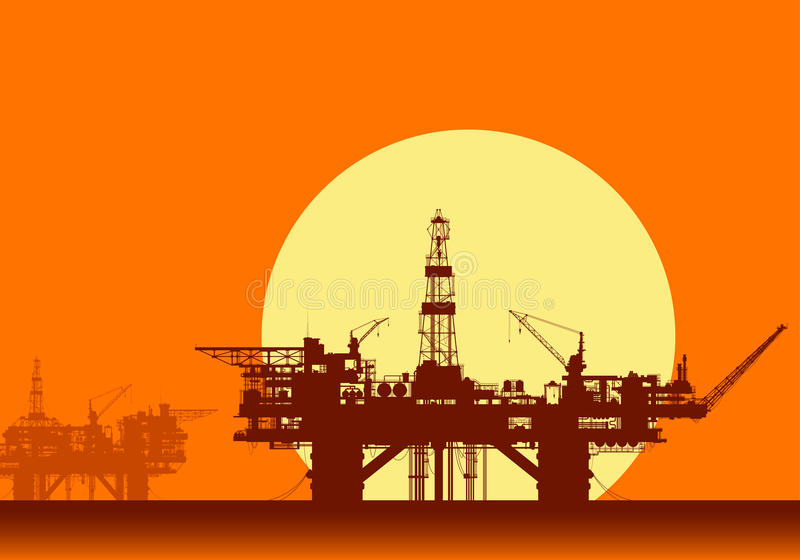 Sea oil rigs. Offshore drilling platforms. Sea oil rigs. Offshore drilling platforms in the sea over yellow sun. Detail vector illustration vector illustration