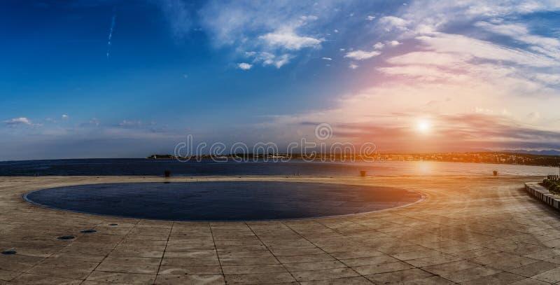 Sea organ is an architectural object located in Zadar, Croatia stock photo