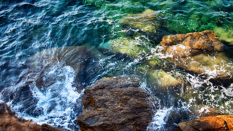 Sea pattern. Sea water and rocks in a colorful sea pattern stock image