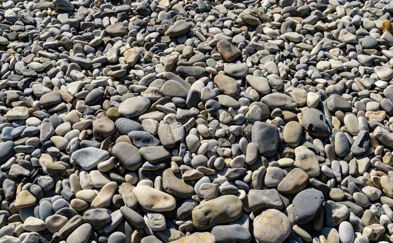 Sea pebbles as nature background. Beautiful sea stones of different sizes, texture and grey color. Excellent natural concept royalty free stock images