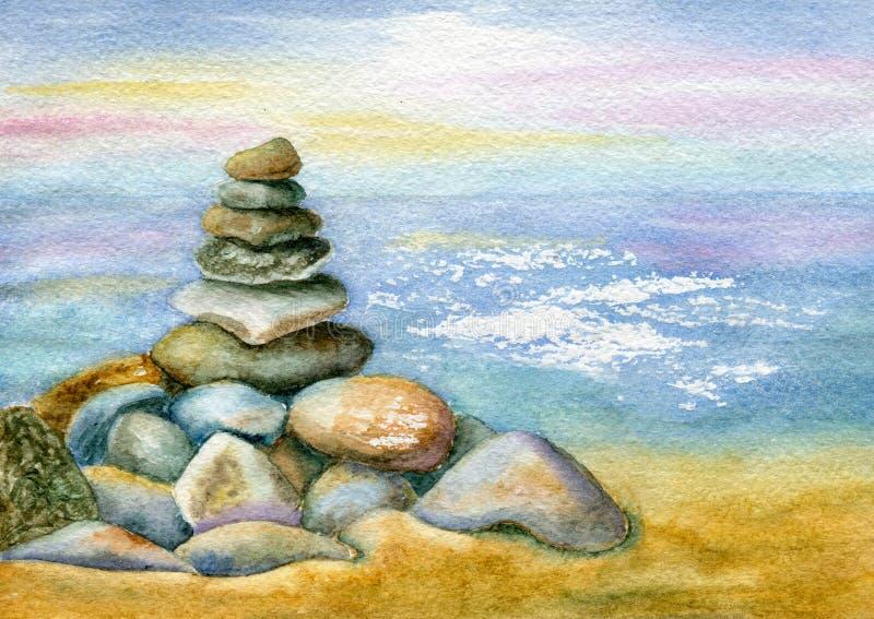 Sea Pebbles Pyramid stock illustration
